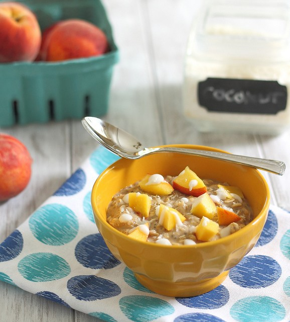 "Creamy Peaches And Coconut Quinoa ""Oatmeal"" Recipe — Dishmaps"