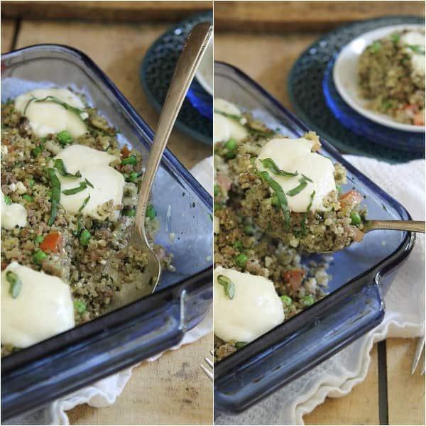 Pesto quinoa beef bake