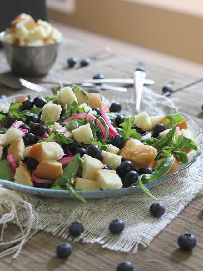 Pickled blueberry panzanella