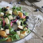 Quick pickled blueberry panzanella salad