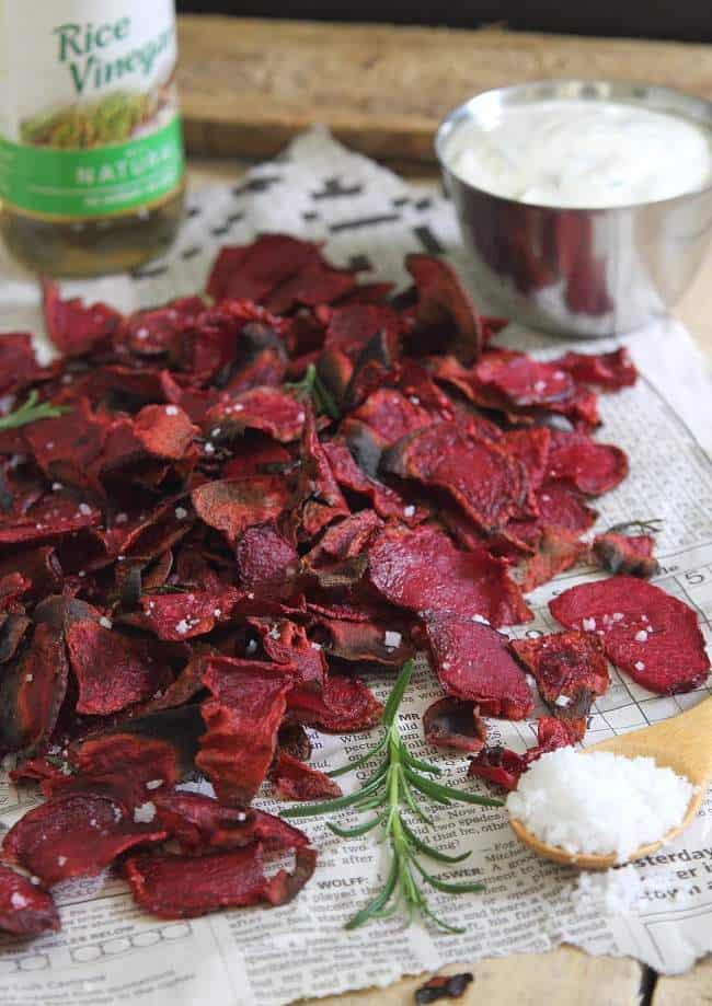 Rosemary sea salt and vinegar beet chips with roasted garlic yogurt dip