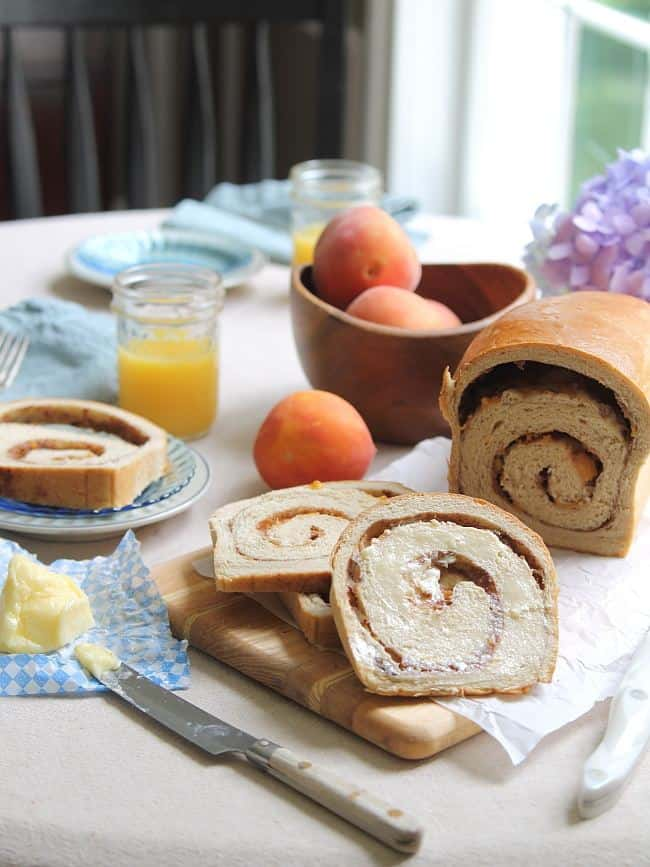 Cinnamon swirl bread with roasted peaches