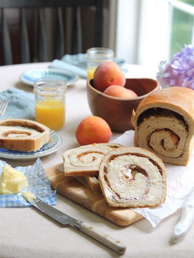 Cinnamon swirl bread with roasted peaches