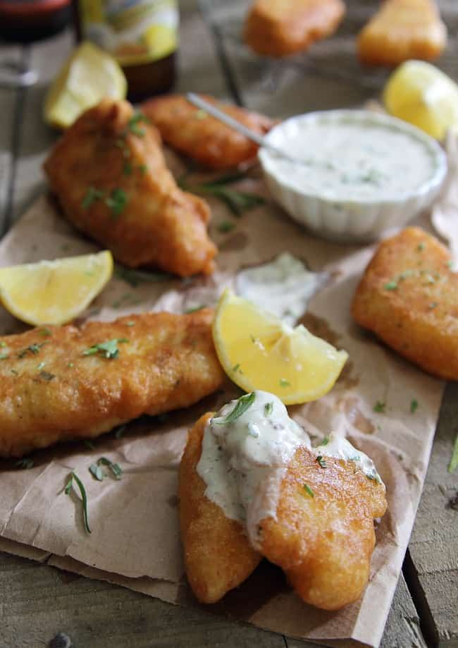 Rosemary Cornmeal Beer Battered Fish
