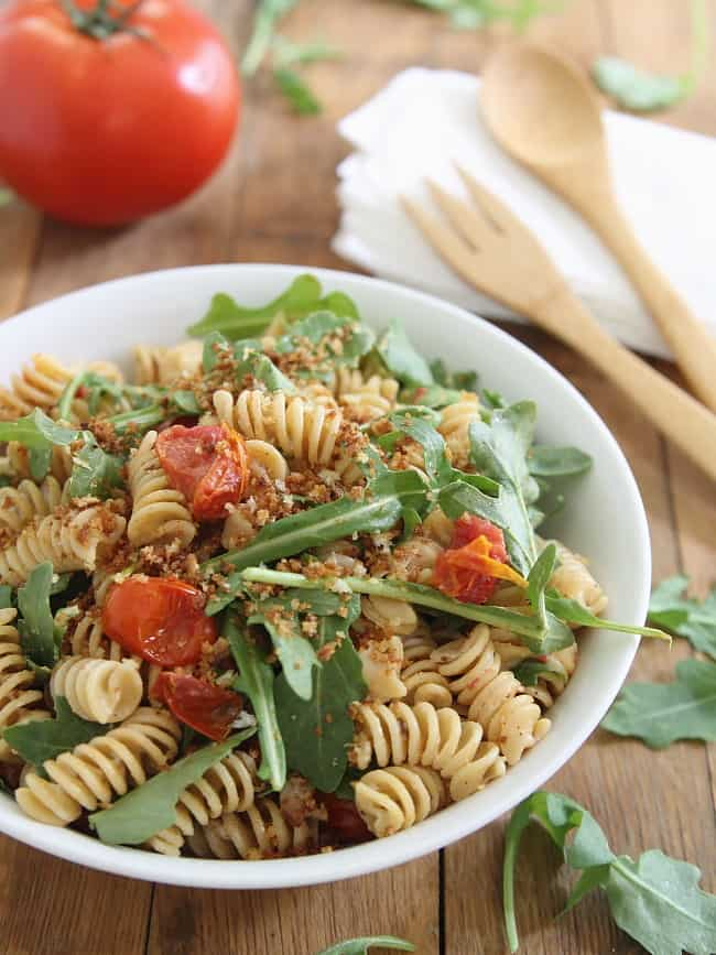 Cream Cheese BLT Pasta Salad with Garlic Butter Breadcrumbs