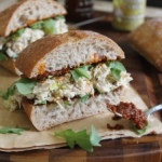 Garlic-yogurt-chicken-salad-sandwich-with-sun-dried-tomato-spread