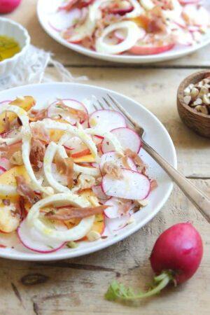Peach and radish salad with crispy prosciutto and toasted hazelnuts