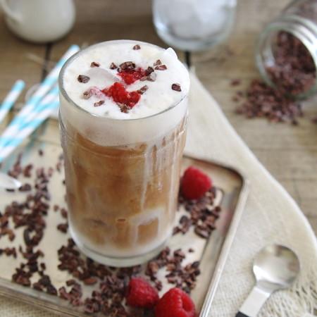 Fresh raspberry iced coffee