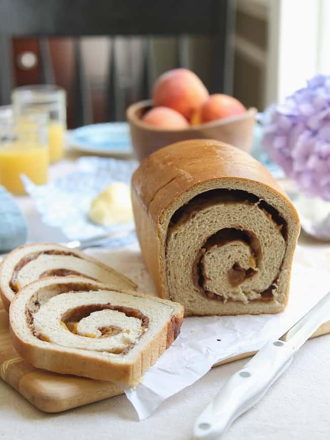 Roasted Peach Cinnamon Swirl Bread