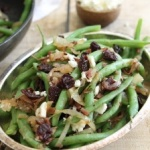Green beans, cherries, caramelized onions and crispy ham