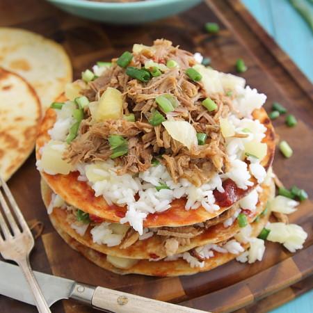 Hawaiian pulled pork BBQ enchilada stacks