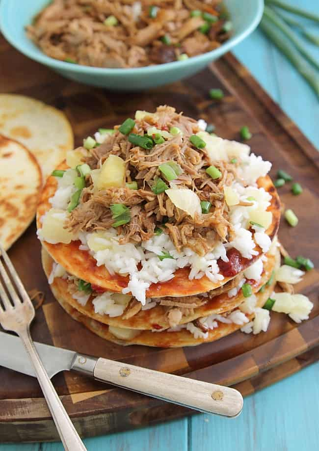 Hawaiian Pulled Pork BBQ Enchilada Stacks