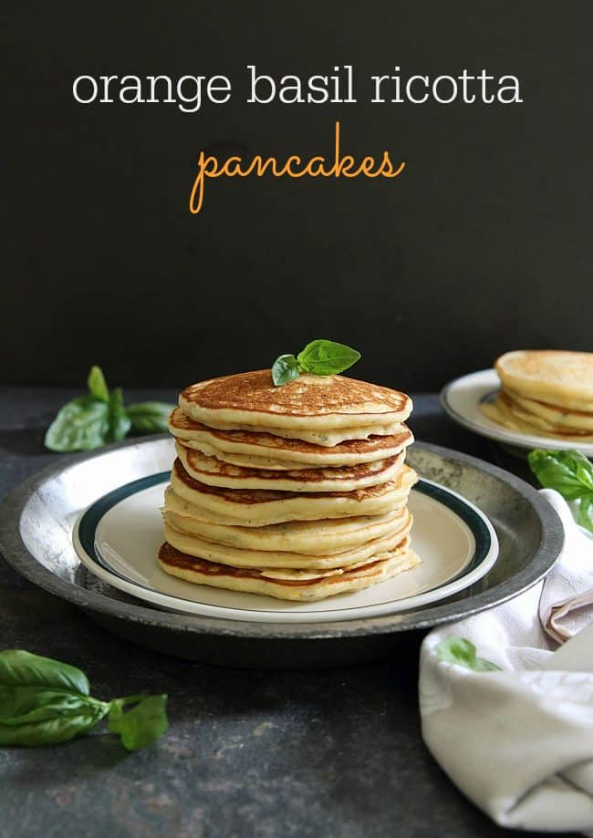 Orange basil ricotta pancakes text
