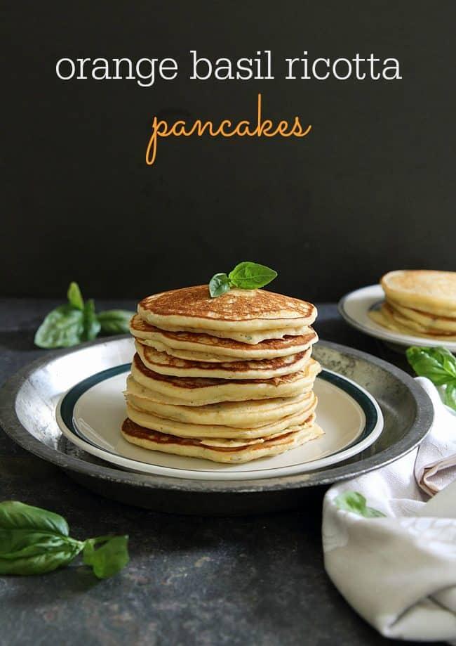 Orange basil ricotta pancakes text