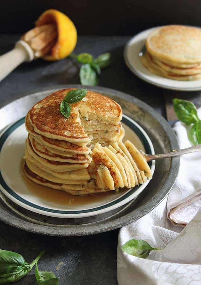 Orange basil ricotta pancakes - Running to the Kitchen