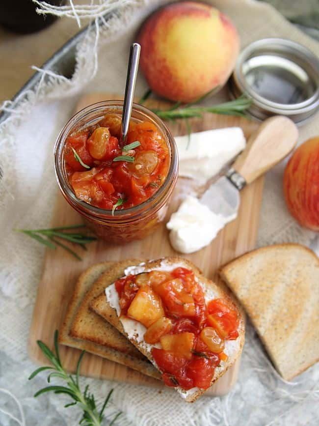 Rosemary tomato peach chutney