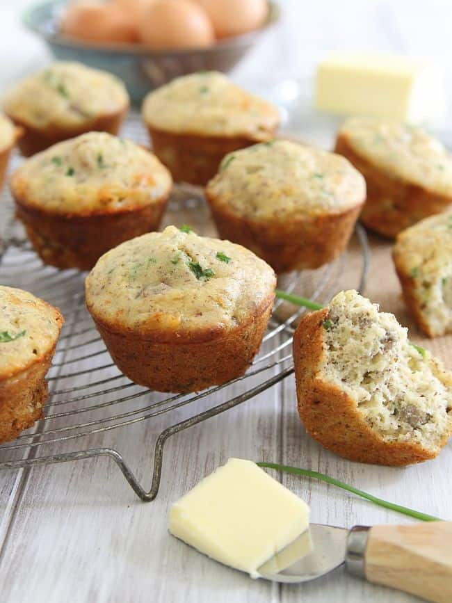 Sausage muffins with cheddar cheese
