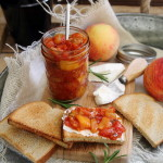 Spicy rosemary tomato peach chutney
