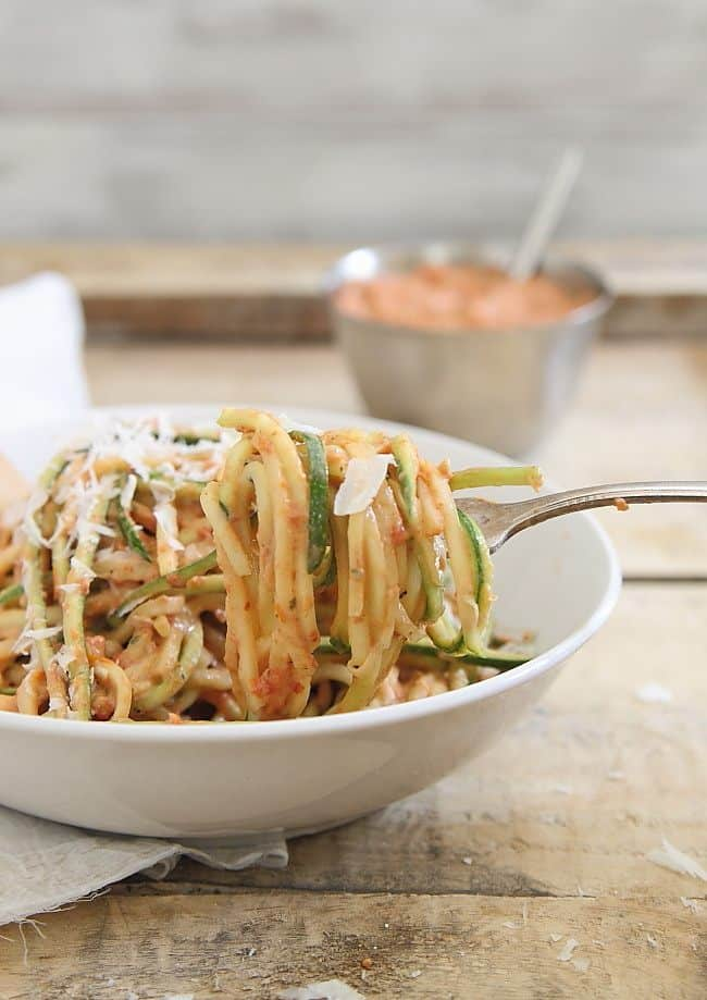 Try this creamy roasted tomato sauce tossed with zucchini noodles for a simple, healthy meal.