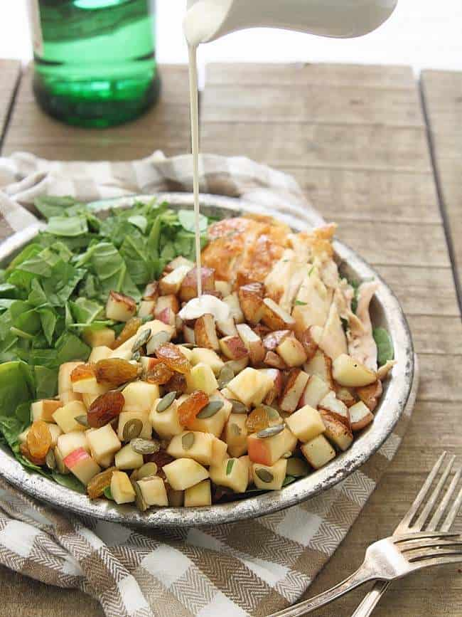 Blue cheese chicken salad with crispy potatoes and apples