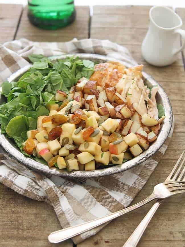 Blue cheese chicken salad with potatoes and apples