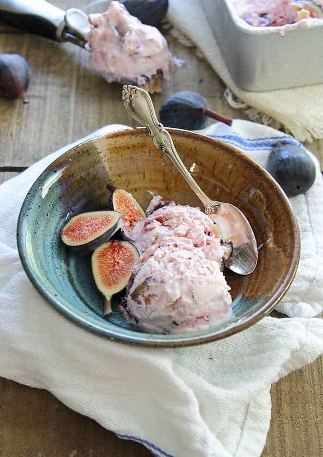 Goat cheese and honey roasted fig frozen yogurt