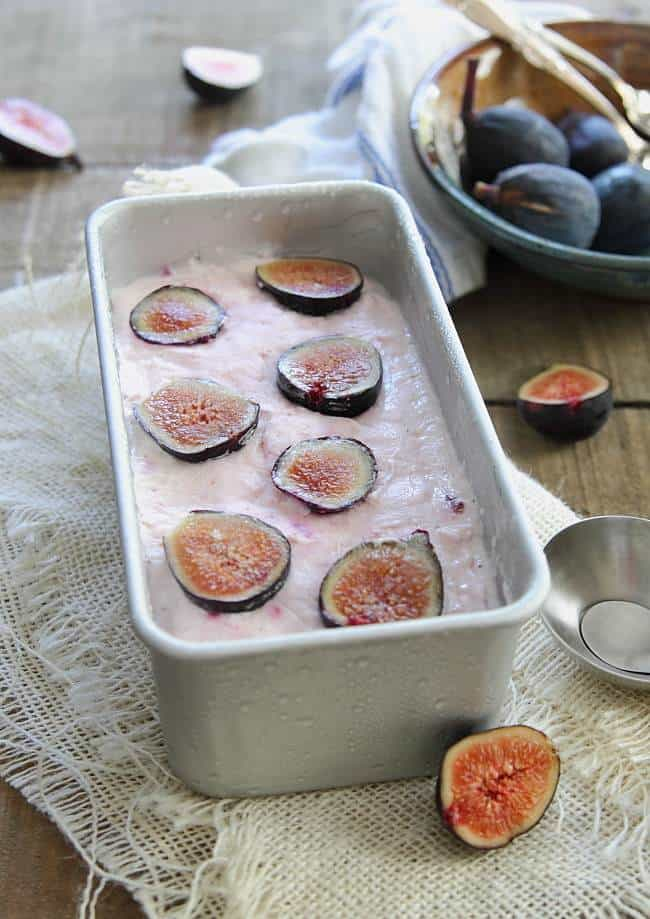 Goat cheese frozen yogurt with honey roasted figs