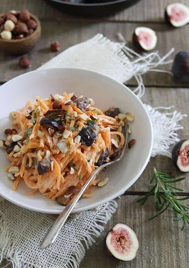 Goat cheese sweet potato noodles with caramelized figs