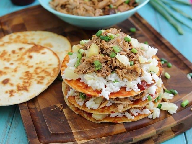 Hawaiian pulled pork enchilada stacks
