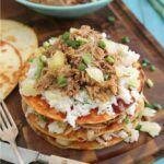 Hawaiian pulled pork BBQ enchilada stacks 450x450