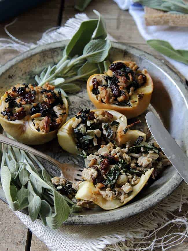Stuffed apples with turkey, sage, raisins and kale