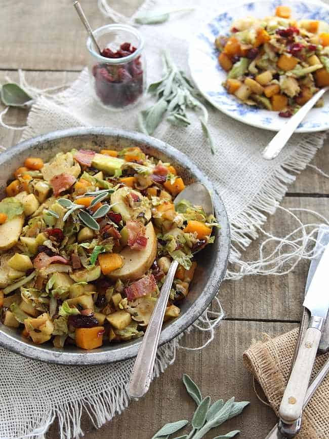 Brussels sprouts pumpkin and apple hash