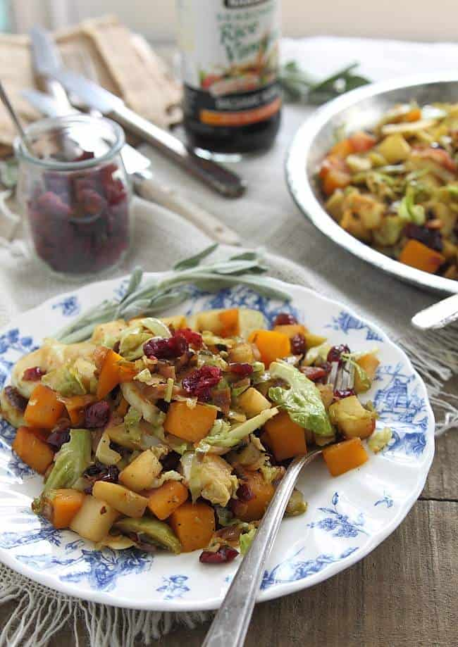 A fall salad filled sauteed brussels sprouts, pumpkin and apples