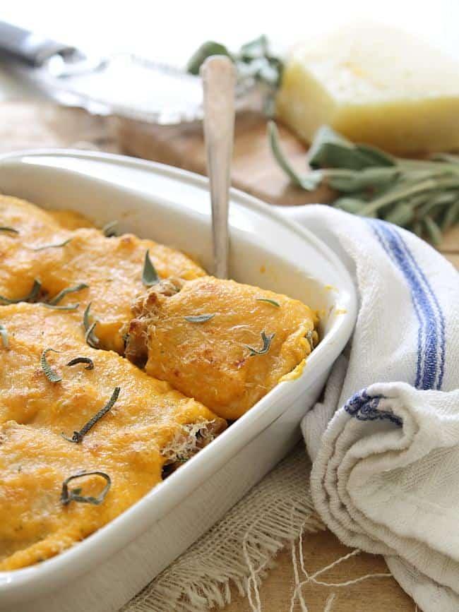 Whole wheat butternut squash lasagna roll ups