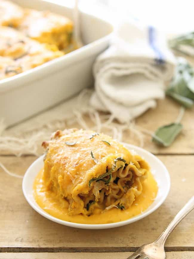 Butternut squash chicken and spinach lasagna roll ups