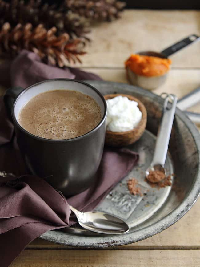 Pumpkin hot chocolate with hazelnut