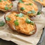 Roasted red pepper feta stuffed potato skins 450x450