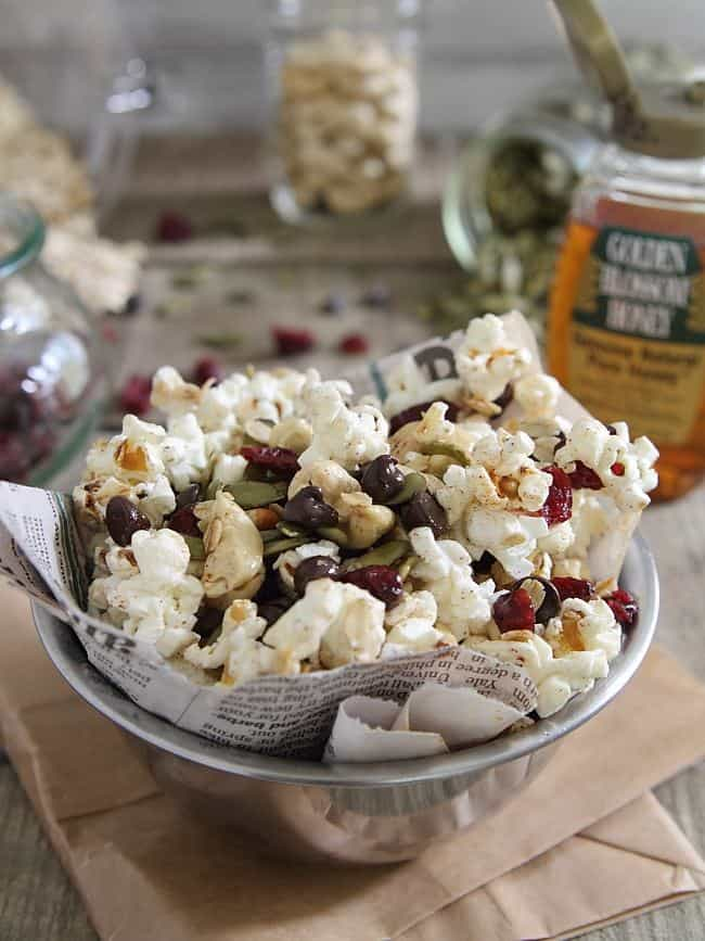 Trail Mix Popcorn - Running to the Kitchen