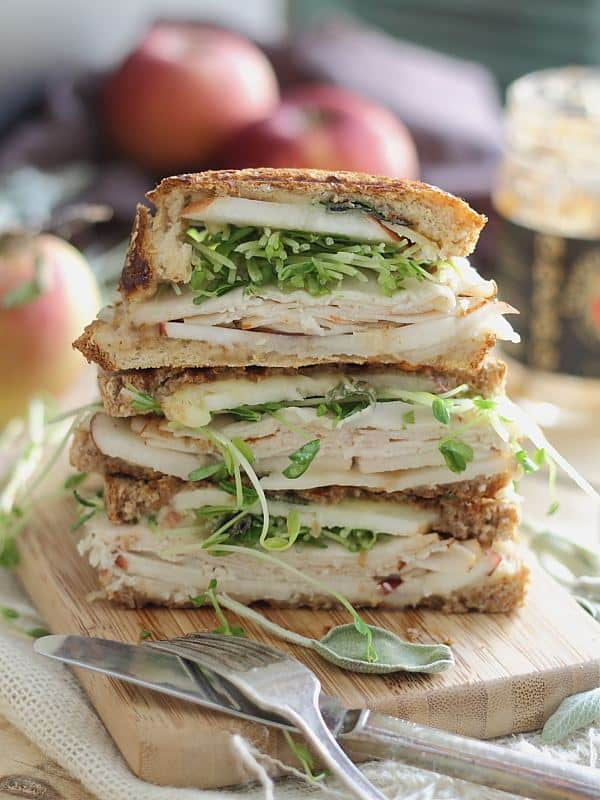 Turkey cheddar apple butter and sage panini