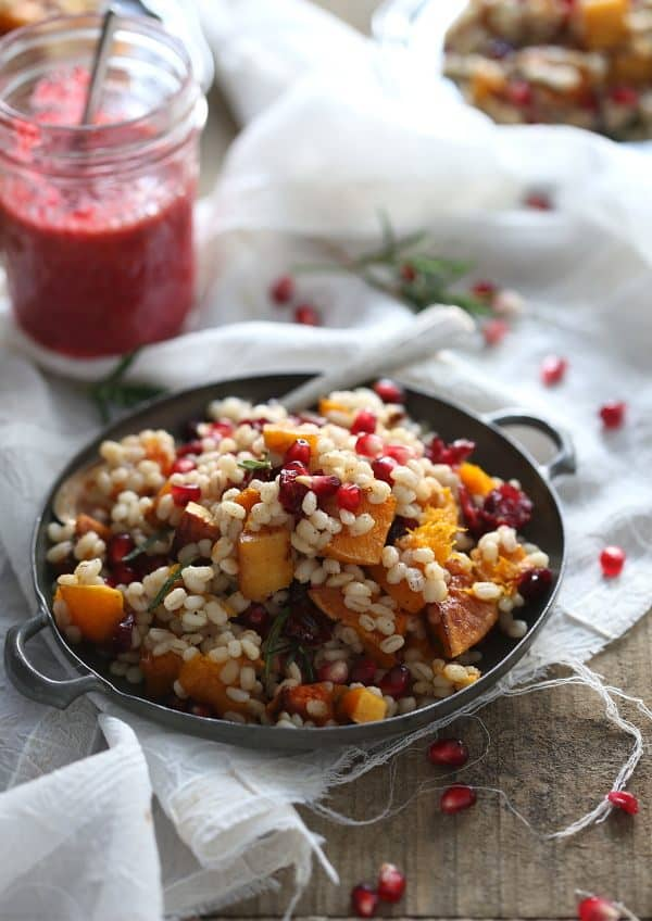 Barley butternut squash salad with pomegranate and cranberries