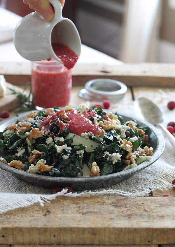 Winter Chopped Kale Salad with Cranberry Vinaigrette