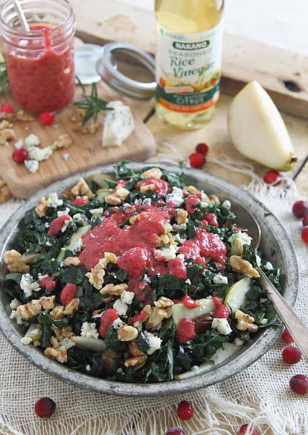 Winter Chopped Kale Salad with Pears, Dates, Gorgonzola and Walnuts