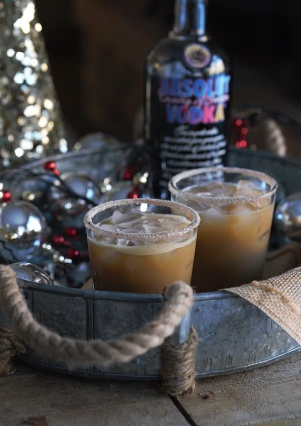 This gingerbread white russian is the perfect holiday cocktail full of rich coffee flavor mixed with a sweet molasses drizzle.