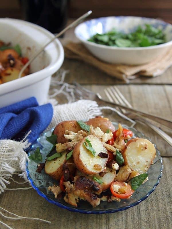 Greek salad potato casserole