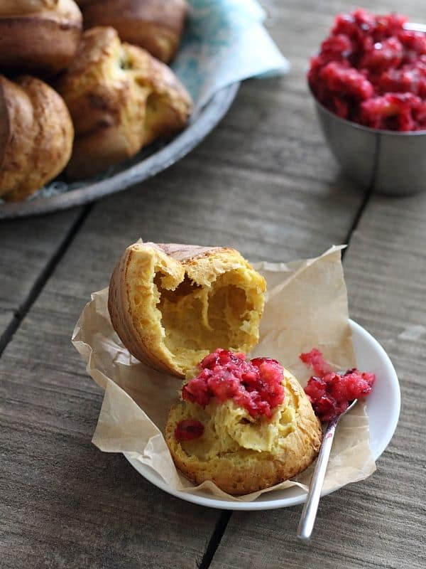 Pumpkin popovers topped with cranberry relish