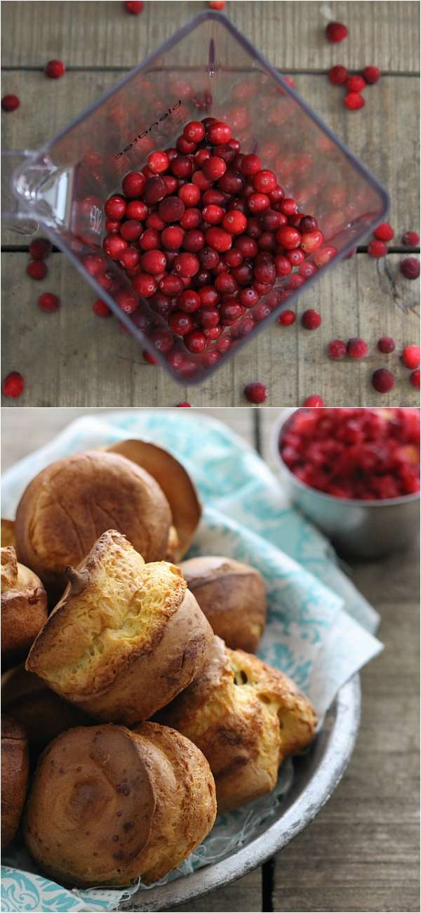Pumpkin popovers and cranberry relish