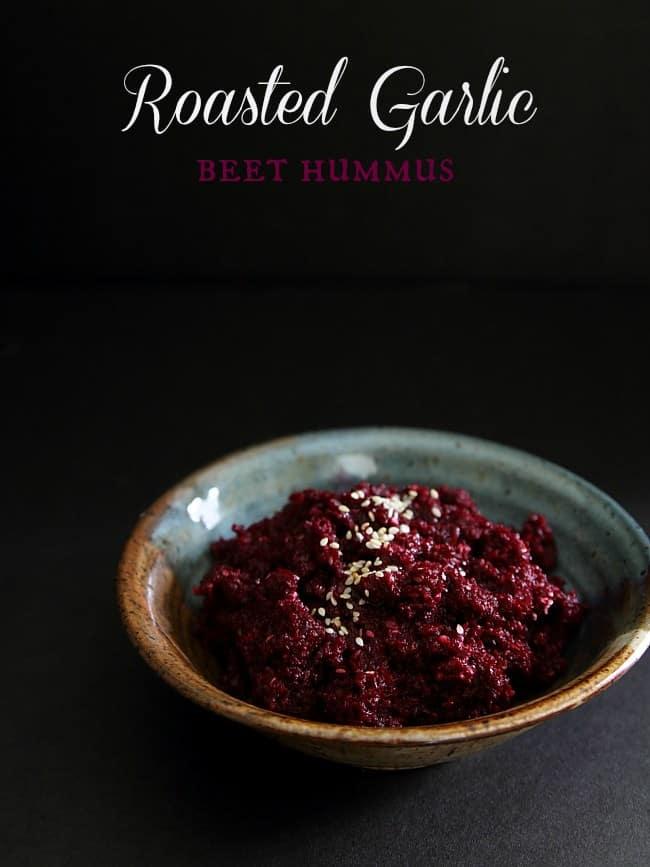 Roasted garlic beet hummus