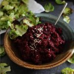 Roasted Garlic Beet Hummus with Brussels Sprouts Chips