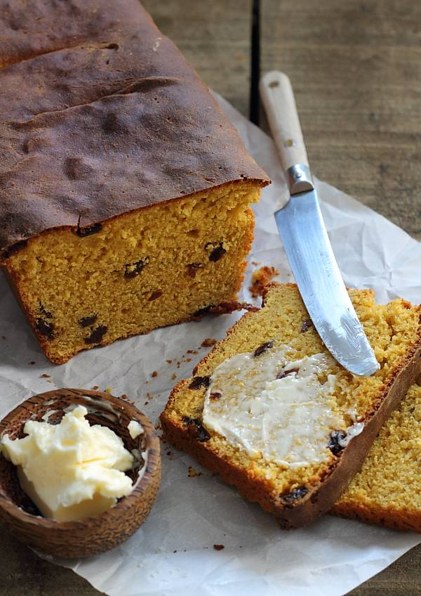 Sweet potato bread with raisins