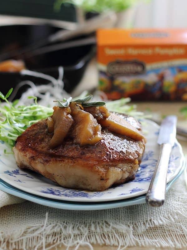 Tea glazed pork chops with apples